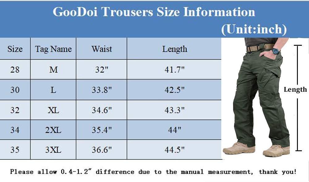GooDoi Pantaloni da Lavoro da Uomo Pantaloni da Uomo in Cotone da Combattimento Pantaloni Militari da Esterno per Escursioni A Piedi