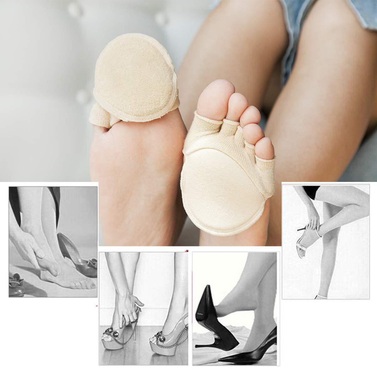 Toe Socks, Cotton Non-Slip Women's Toe Toppers Socks Toe Separating Socks No-Show Half Socks Barre Pilates Yoga Half Palm Socks(2 Pairs) by Pnrskter (Image #2)