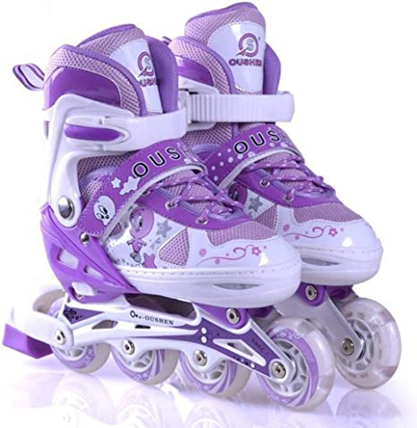 Amazon Com N Y L A Rollerskates Light Up Inline Bounce Skates Fun Flashing Wheels Beginner Roller Skating Boots For Kids Adult Purple M Home Kitchen