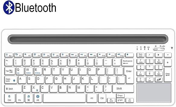Alitoo Teclado inalámbrico Bluetooth recargable con touchpad ...