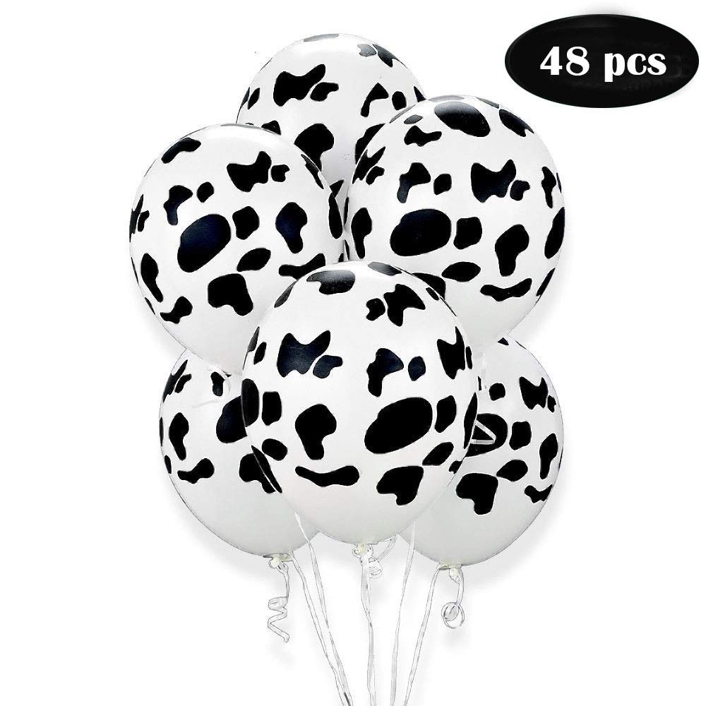 Cow Print Balloons Home Craft Decoration Latex Farm Animal Black and White for Childrens Birthday Pieces 12 Inches Venusfur