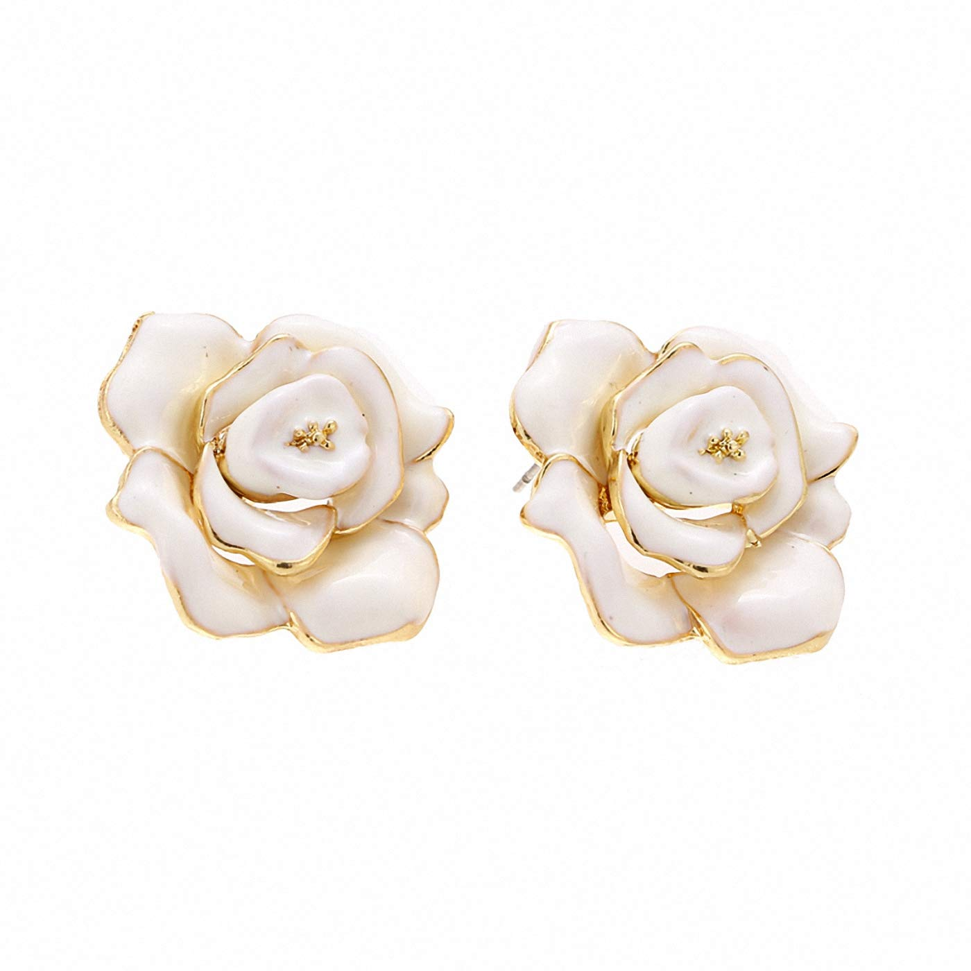 Red Enamel Rose Flower Stud Earrings Big Charms Romantic Cheap Earrings Woman Wedding Earrings