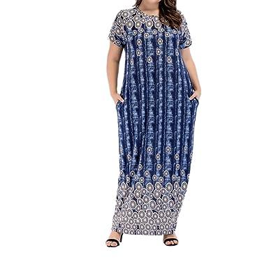 zhbotaolang Muslim Women Oversize Short Sleeve Maxi Dress Kaftan Abaya Gown f3dda99b0