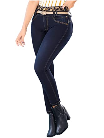 463d2338653d45 ROSE Draxy 1369 High Rise Skinny Colombian Blue Jeans for Women | Jeans  Levanta