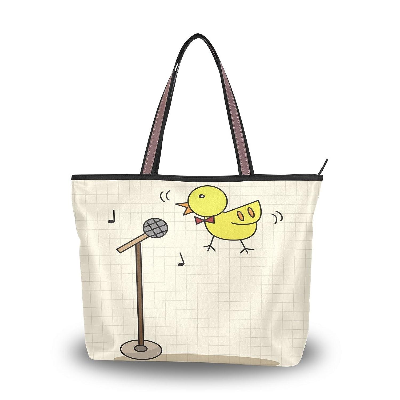 Cute Cartoon Music Note Bird,Large Shopping Handbag School Book Tote Bag
