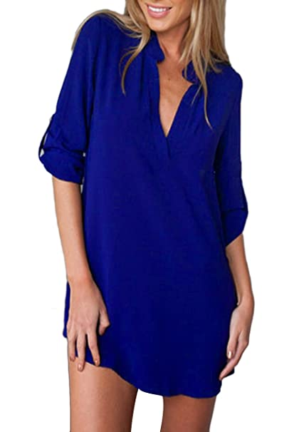 OMZIN Blusa de Gasa con Cuello en V para Mujer, Mangas largas, Blusa Azul
