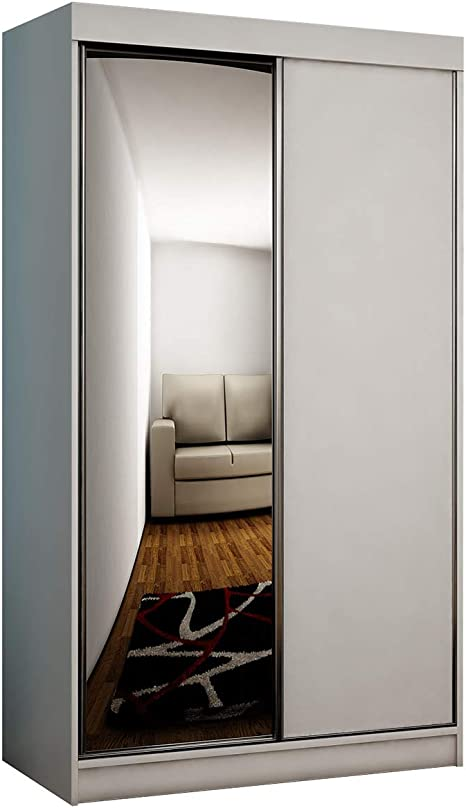 Mirjan24 Toplo 100 Ii Wardrobe Elegant Bedroom Cabinet Mirror 100 X 200 X 62 Cm Hallway Cupboard Wardrobe Sliding Door Cupboard White Without Lighting Amazon De Home Kitchen