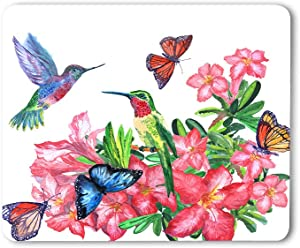 Moslion Hummingbirds Mouse Pad Watercolor Painting Butterflies Blossoming Flowers Colorful Gaming Mouse Mat Non-Slip Rubber Base Thick Mousepad for Laptop Computer PC 9.5x7.9 Inch