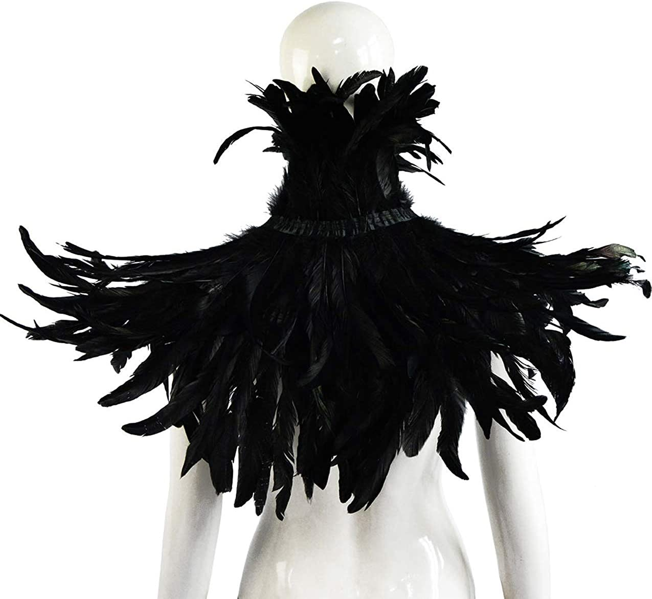 LVOW Black Feather Cape Shawl Crow Costume with Feather Cuffs