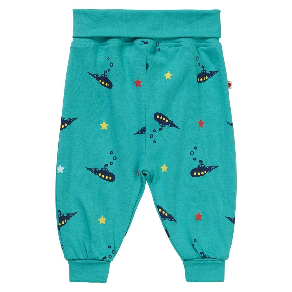 Piccalilly Teal Blue Baby Boys Pull-On Trousers Organic Cotton Submarine