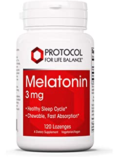Protocol For Life Balance - Melatonin 3 mg - Chewable with Vitamin B6 for Fast Absorption