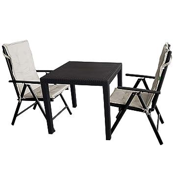 5tlg Gartengarnitur Gartentisch Kunststoff 79x79cm Rattan Optik 2x Hochlehner 7 Fach Verstellbare Lehne Klappbar 2x Sitzauflage Sitzgruppe