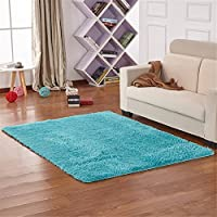 Sytian 4 Feet X 5 Feet 4.5cm Thick Decorative Modern Shaggy Area Rug Super Soft Silky Bedroom Living Room Sitting-room Carpet Non Slip Kids Playing Mat Crawling Pad (Sky Blue)