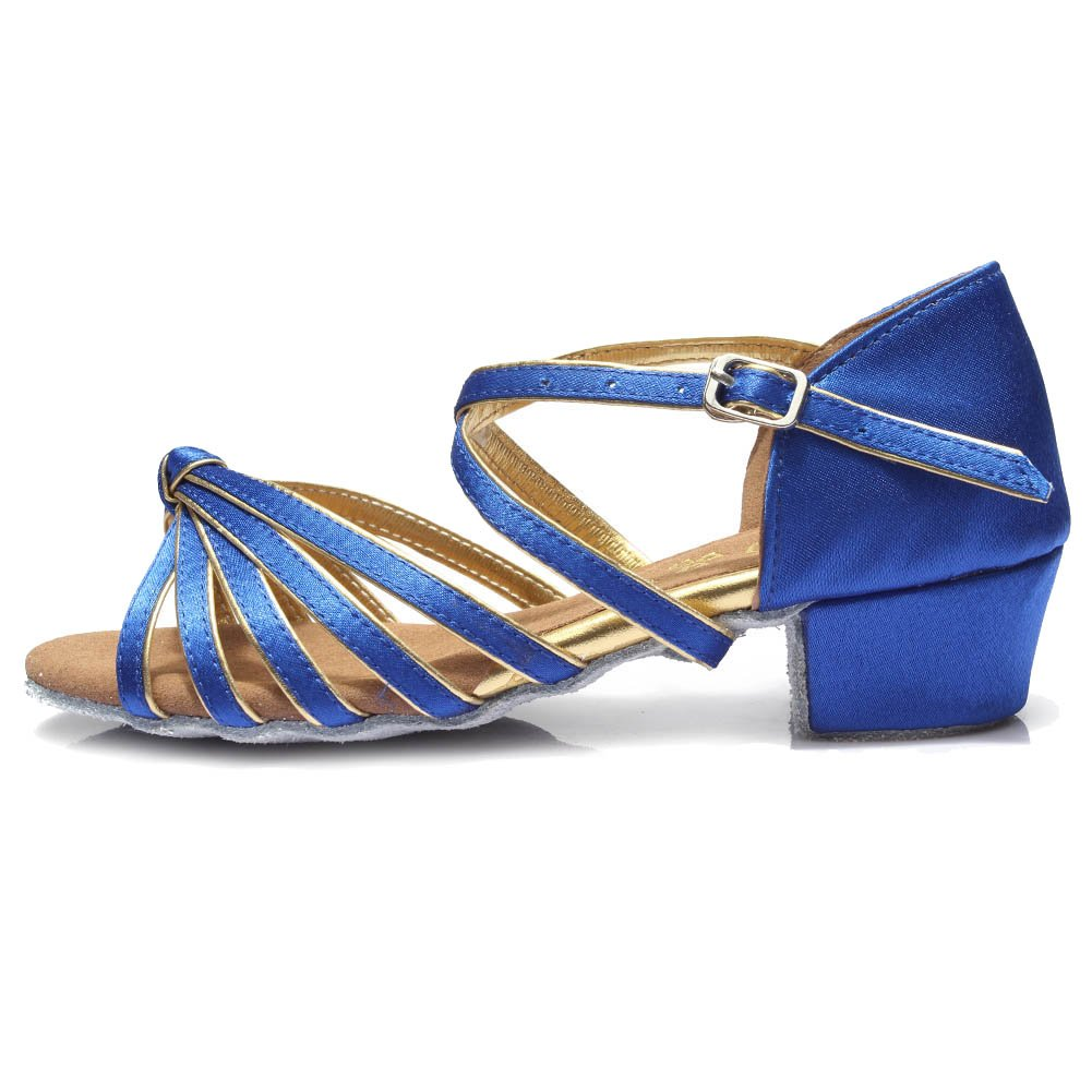 Roymall Girls&Women's Blue Satin Latin Dance Shoes Ballroom Performance Shoes,Style 203, 12.5 M Little Kid