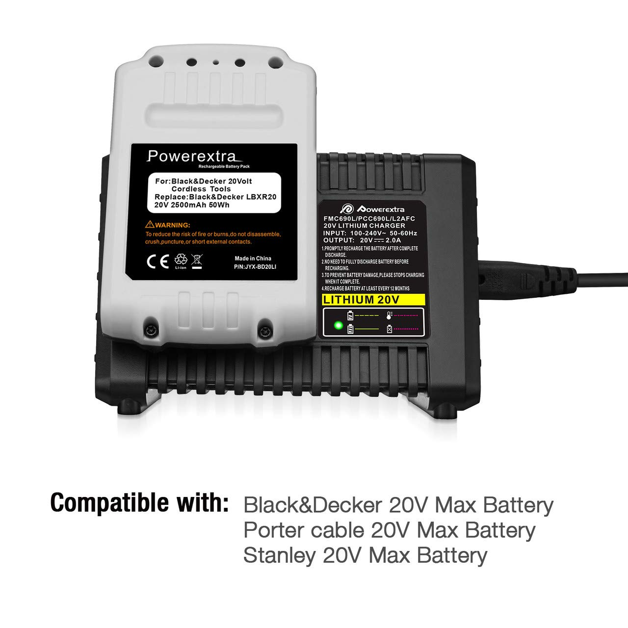 Powerextra 20V Lithium Battery Fast Charger BDCAC202B for Black and Decker 20V Lithium-ion Battery and Porter-Cable 20V Lithium-ion Battery LBXR20 LBXR2020 ...