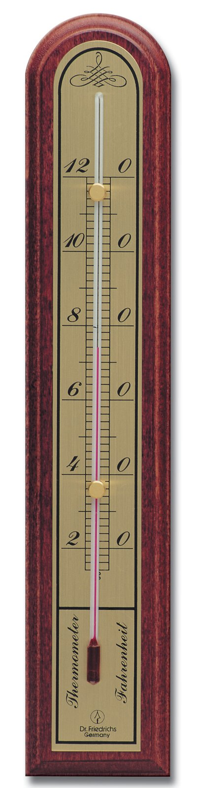 Analog Indoor Wall Thermometer Solid Oak Wood with Brass Scale 10 inch (Mahogany Finish)