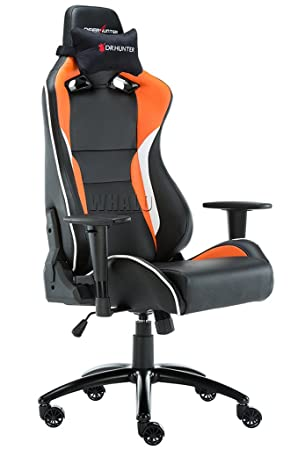 DEER HUNTER Office Desk Chair Faux Leather High Back Adjustable Racing Sport  Chair Reclining Orange Black