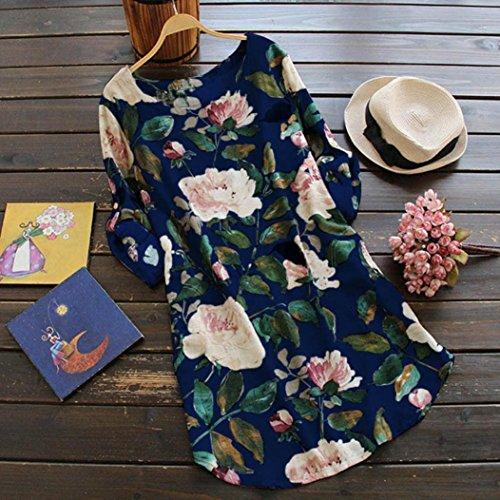 estampado verano manga fiesta Azul larga casuales de vestidos BBestseller mujer Falda Vestido vestido mujer de floral vestidos Mini largo de mujer casuales SIBav