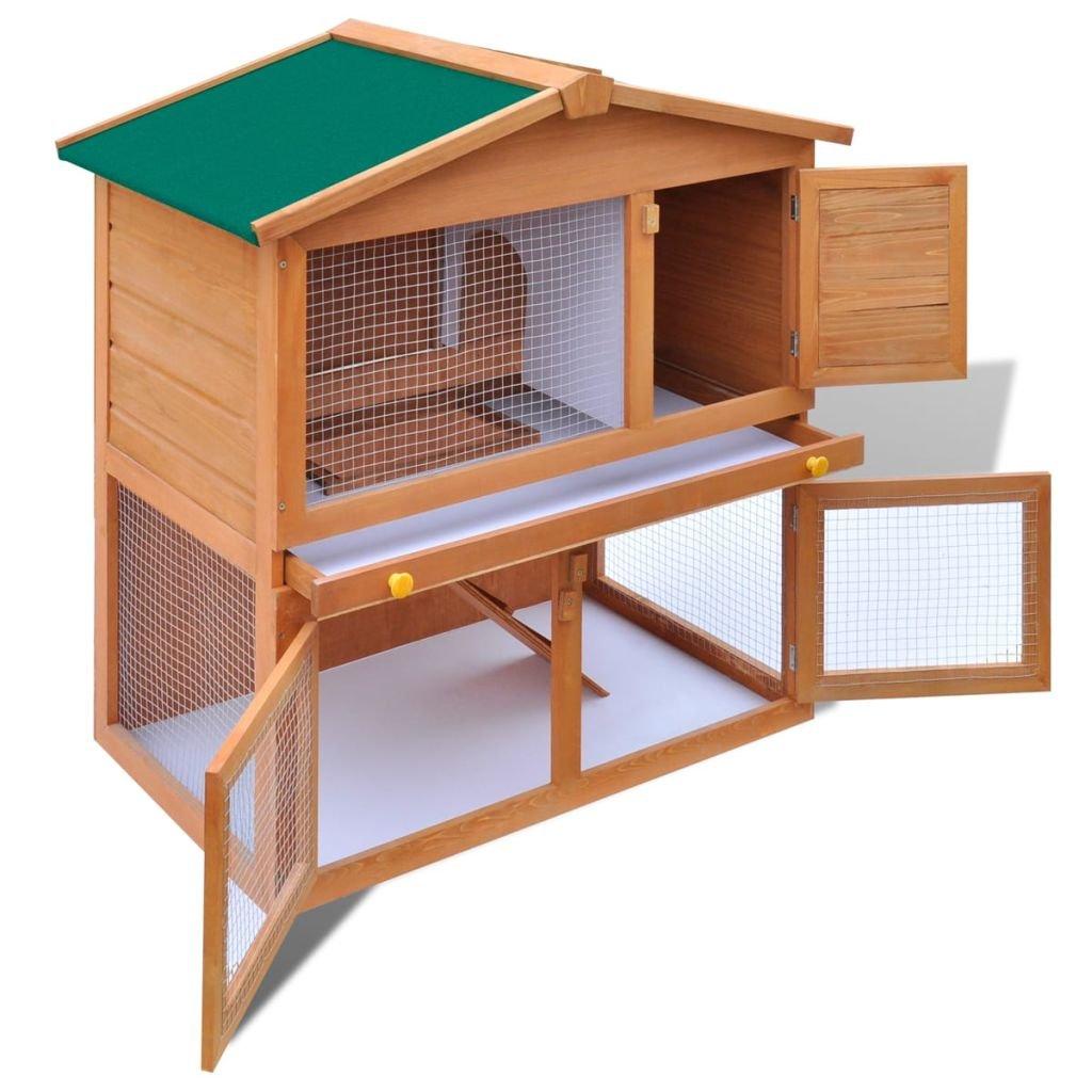 vidaXL Conejera de Exterior 3 Puertas Madera Casa de Conejos Jaula de Mascota: Amazon.es: Jardín