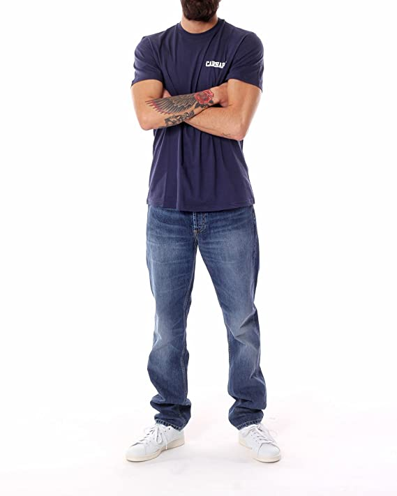Carhartt Men s College Script T-Shirt, Negro Azul Blanco Azul ...
