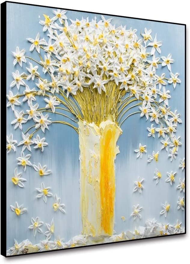 Renaiss 16x16 Inches 3D Hand Painted White Yellow Flower Wall Art for Bedroom Office Living Room Decor Abstract Floral in Vase Painting Light Blue Canvas Prints Picture Modern Home Decor Framed