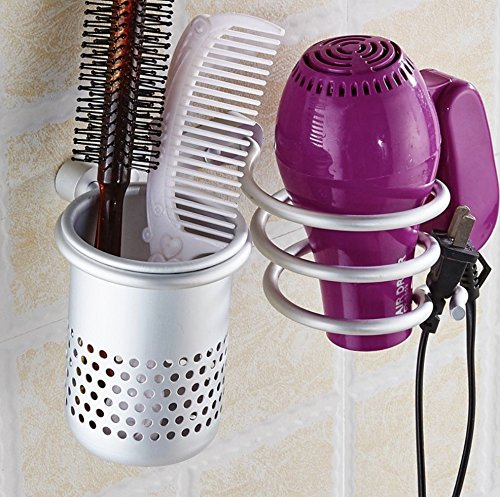 Akuoufour Aluminum Wall Mounted Hair Dryer Holder,Aluminum Hair Styling Stand Organizer With Cup Hairdryer mount