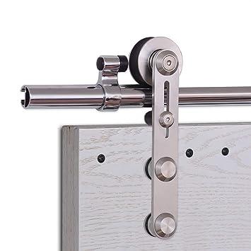 CCJH 10FT-305cm Acier Inoxydable Quincaillerie Kit de Rail Roulette pour Porte Coulissante Ensemble Industriel Hardware kit pour Une Porte Suspendue en Bois