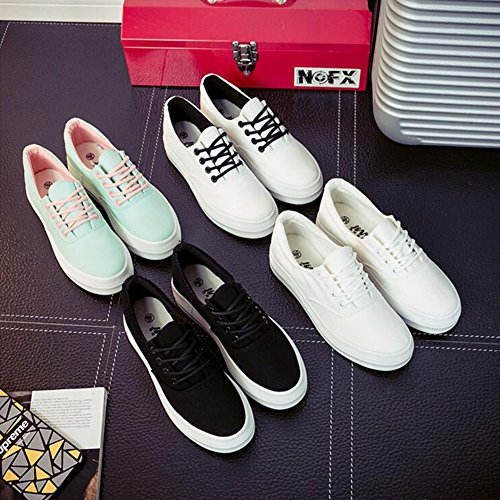 Buganda Femmes Toile Lace Up Chaussures Décontracté Bout Rond Classique Baskets Low Cut Caché Talon Printemps Chaussures Noir