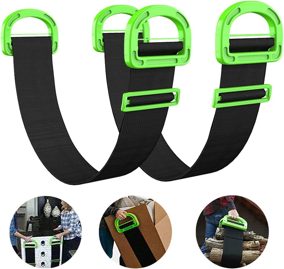 Adjustable Lifting and Moving Strap Carrying Strap Multifunctional Carrying Belt with Durable Handles Support 500Lbs, Single or Two Person Carrying, for Furniture, Boxes or Awkward Objects(2 Straps)