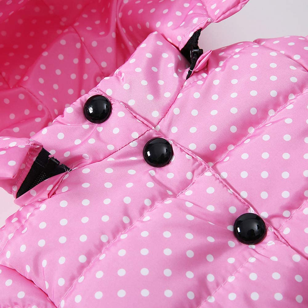 Deloito Fashion Kids Baby Girls Thick Hooded Coat Padded Dot Bow Winter Jacket Clothes Quilted Puffer Clothes Cute