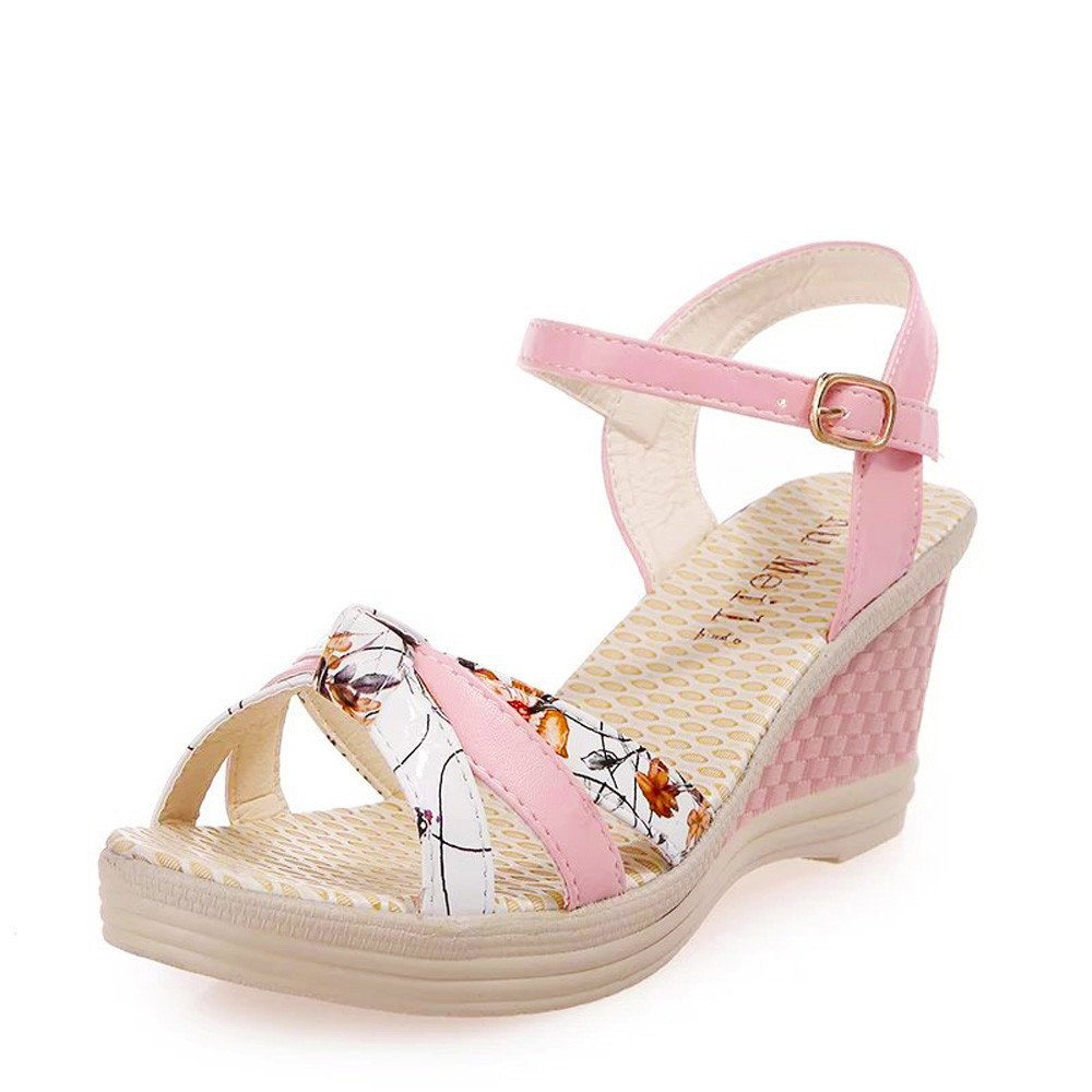 2019 Women's Comfortable Wedges Shoes Summer Sandals Printed Platform Open Toe High-Heeled Soft Buckle Shoes (Pink, US:5)