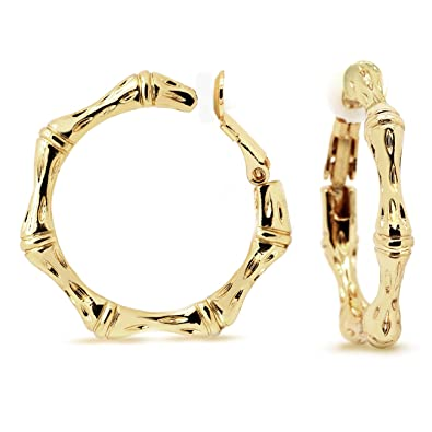 58be8b52e915c7 Amazon.com: Bamboo Clip On Hoop Earrings Gold Plated Women Fashion 1.25  inches: Jewelry