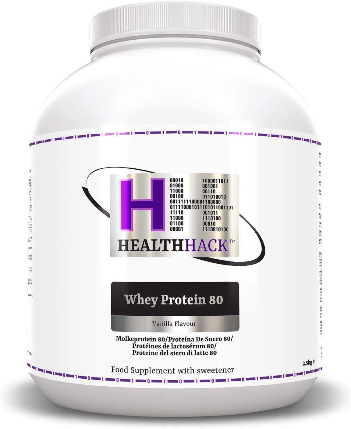 Health Hack - Proteína de suero de leche 80 %, 2,5 kg, vainilla