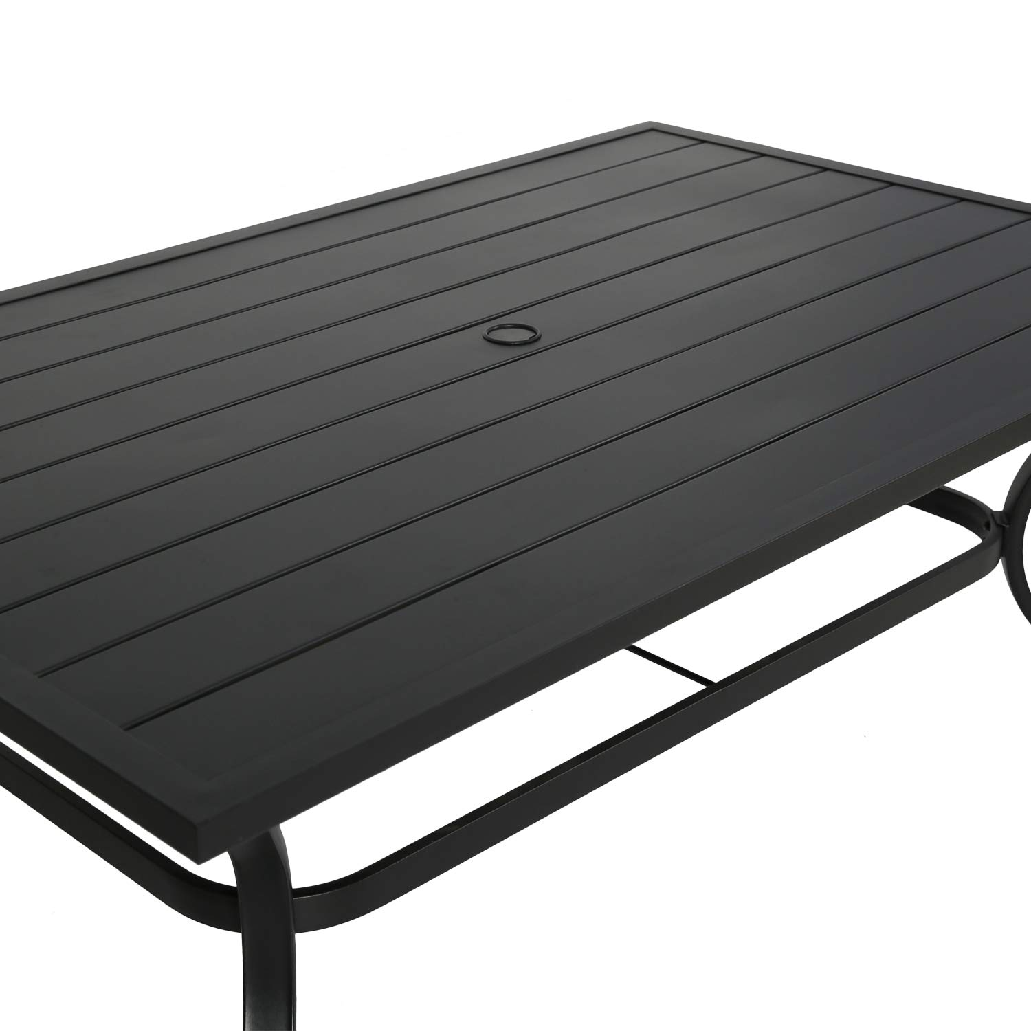 Ulax furniture Outdoor Patio Rectangular Slatted Dining Table with Umbrella Hole, Classic Black