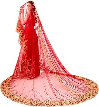 Red Wedding Veil