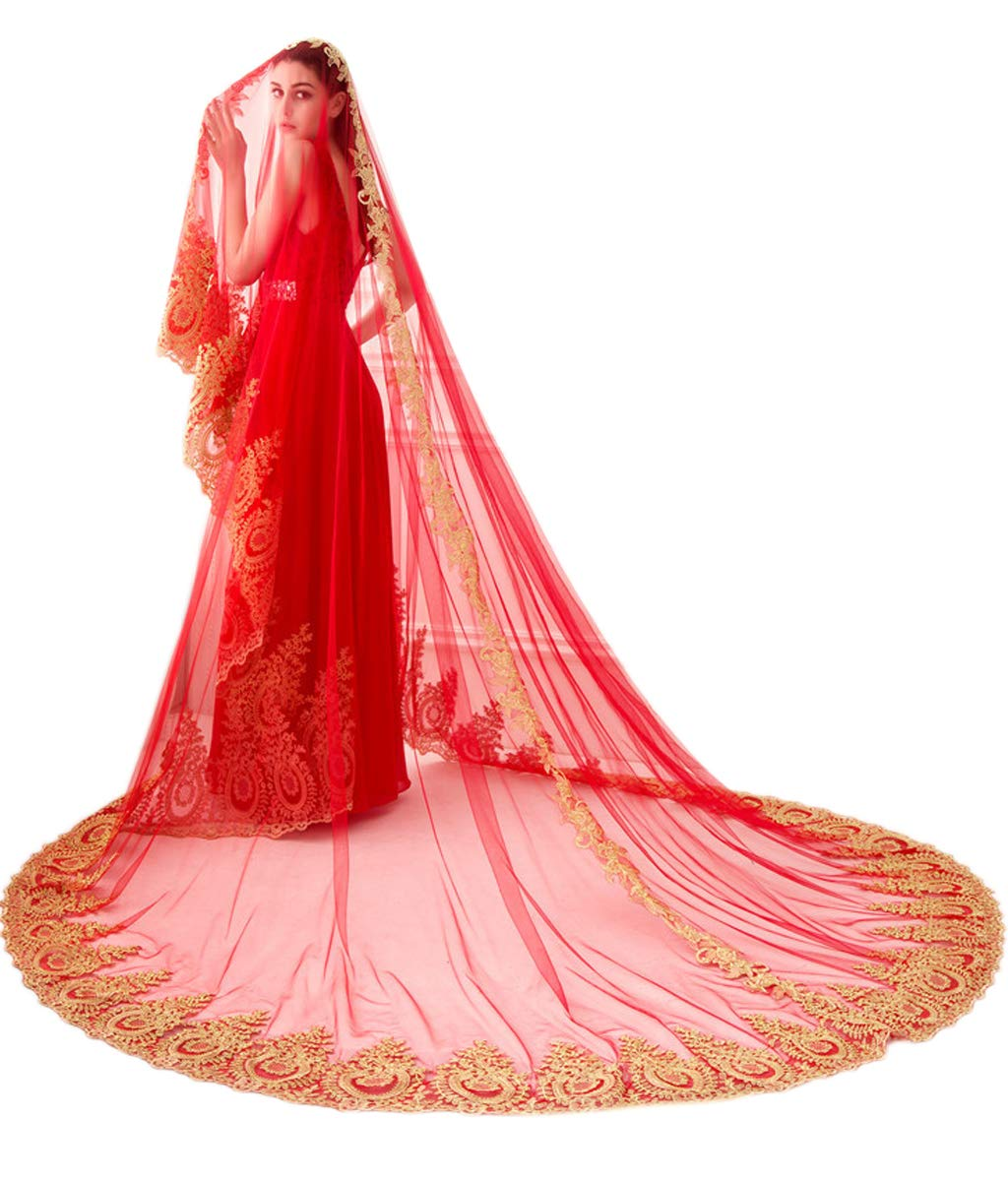 Mauwey Womens Cathedral Long 350 cm/137 inch Gold Sequined Lace Edge Red Veils Wedding Veils Bridal Veils Sari