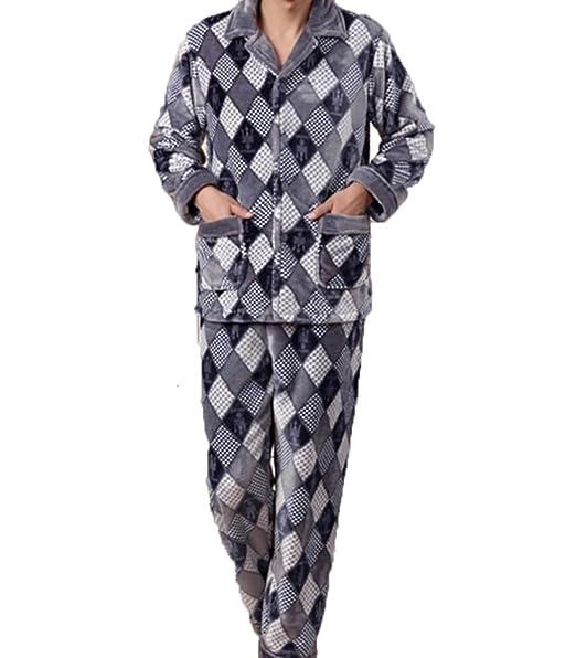 Pajamas De Invierno Grueso Hombres Calientes Pijamas Franela Traje De Gran Tamaño Servicio Casero,Blue