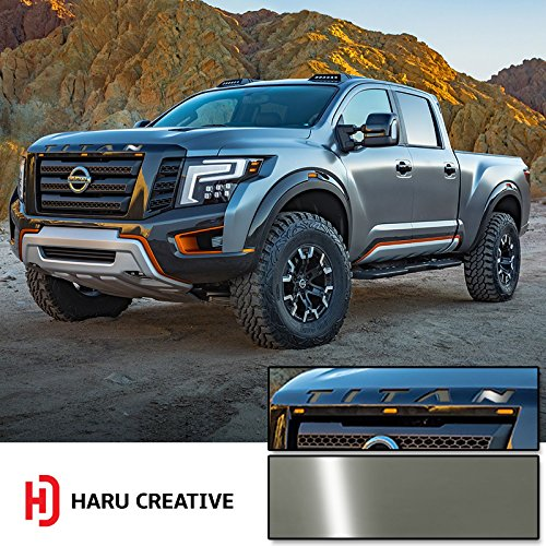 Haru Creative - Front Hood Grille Emblem Letter Insert Overlay Vinyl Decal Sticker Compatible with and Fits Nissan Titan XD 2016 2017 2018 - Gloss Gunmetal