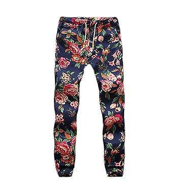 024712e7ba007b BOLAWOO Hosen Herren Sommer Fashion Blumendrucken Vintage Ethno-Style Hippie  Mit Kordelzug Leinenhose Freizeithose Pants  Amazon.de  Bekleidung