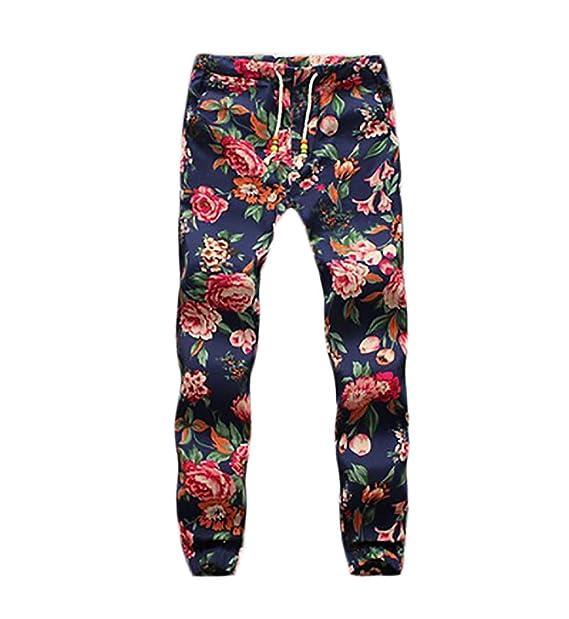 f0b093b43a BOLAWOO Pantalon Lino Hombre Fashion Flores Estampado Vintage Etnicas  Estilo Casuales con Cordón Pantalones Hippies  Amazon.es  Ropa y accesorios