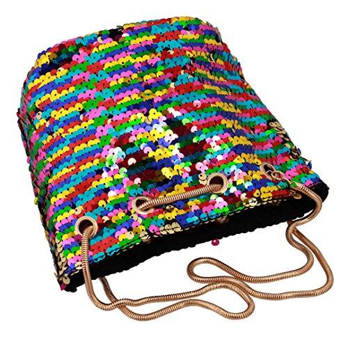 Bucket Handbag Girls Women Multicolor Bag Crossbody Liliam Sparkly Prom for Shoulder Party Sequins dTYxq58f