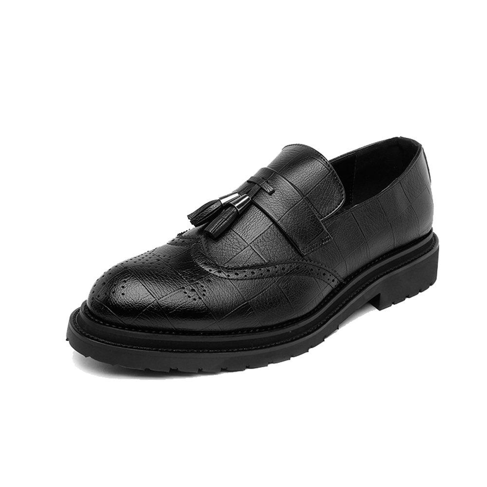 GS Schuhes Männer Business Brogue Schuhe PU Leder Oberen Wingtip Quaste Anhänger Slip on Wingtip Oberen Dekoration Atmungsaktive Sohle Oxfords Schwarz c32357
