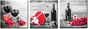 Nachic Wall 3 Piece Canvas Wall Art Decor Black and White Red Wine Rose Picture Poster Giclee Print Still Life Artwork Framed for Kitchen Bar Home Decorations