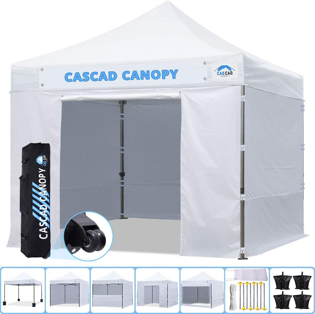 CASCAD CANOPY 10 x10 Ez Pop-Up Canopy Commercial Instant Tent Shelter with DIY Banner, Heavy Duty Roller Bag, 4 Removable Sidewalls, 10ft Screen Netting and Half Wall, 4 Weight Bags, White