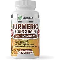 Bioganix Turmeric Curcumin Supplement with BioPerine 1000 mg (120 Capsules) | Vegan Pills for Joint Pain Relief, Anti…