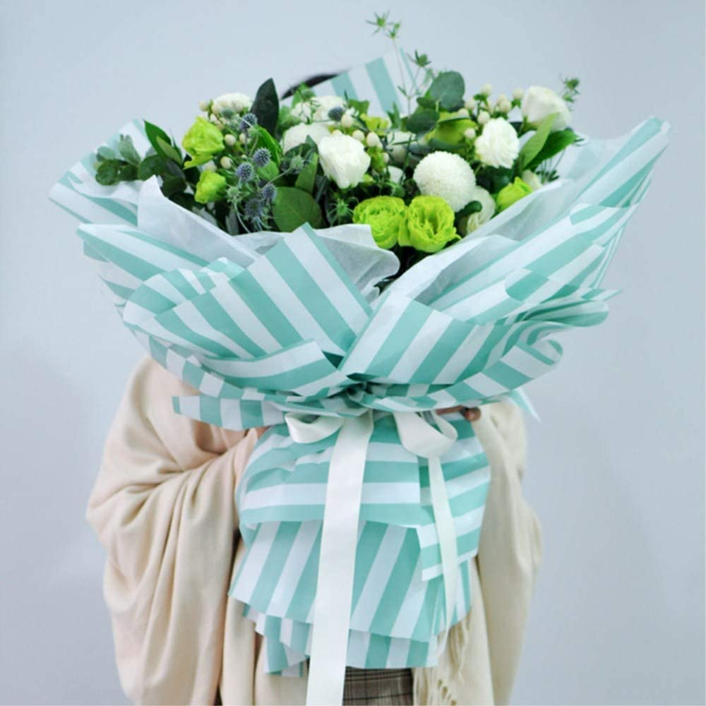 BBC Flower Wrapping Paper Floral Bouquet Wraps for Gift Packaging 20 Sheets 23.6x23.6 Inch Green