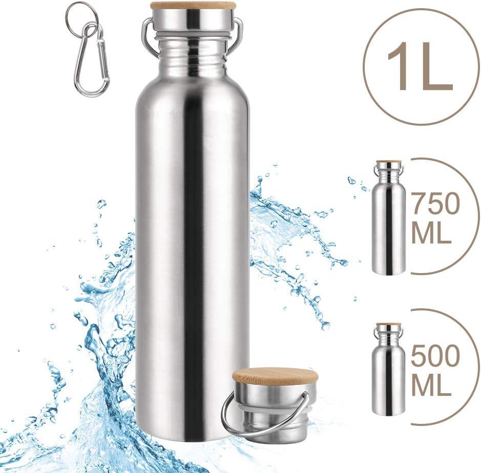SKYSPER Botella de Agua Acero Inoxidable 500ml / 700ml / 1L Botella Termica Reutilizable Deportiva Sin Bpa con Tapa para Viaje, Deporte, Bicicleta, Gimnasio