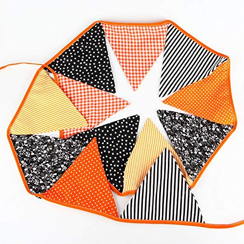 Craft Cotton - 12 Flags 3.2m Handmade Beautiful Halloween Cotton Bunting Pennant Banner Garland Home Party Diy - Flag Adults Crafts Craft Cotton Kits Banners Streamers Confetti Decor Flag Flor