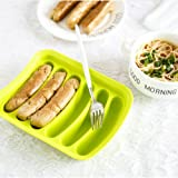 Non-Stick Silicone Sausage Mold for Homemade Hot Dogs, DIY Hot Dogs, BPA Free, Hot Dog Mold for Oven and Microwave (Green, 6-Cavity)