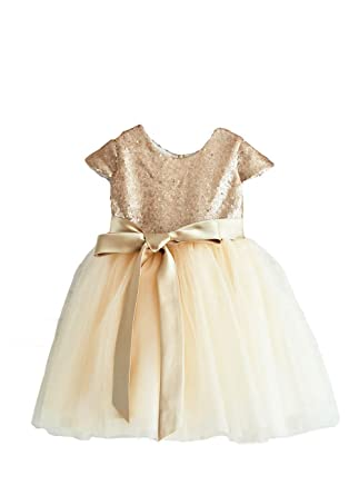 42a2b7a64 Gold Sequin Flower Girls Dress, Cape Sleeves Champagne Tulle, Toddler Tutu  Dress, Baptism